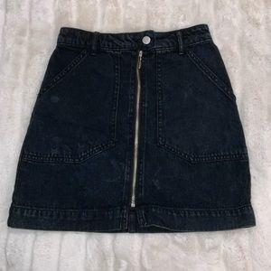 UO dark denim distressed mini skirt